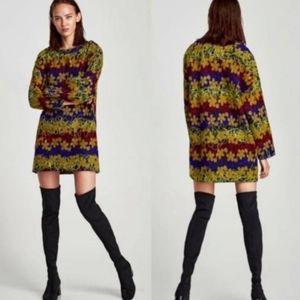 ZARA Embroidered Tunic Shift Dress